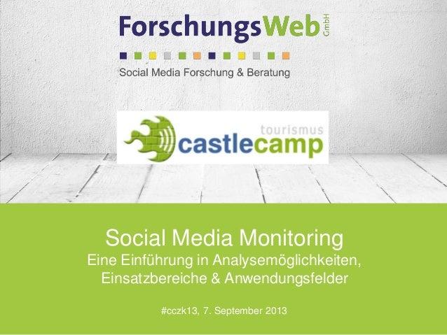 Social Media Monitoring Eine Einführung in Analysemöglichkeiten, Einsatzbereiche & Anwendungsfelder #cczk13, 7. September ...