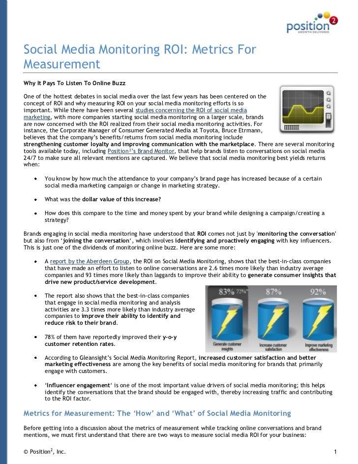 Social media monitoring roi   metrics for measurement