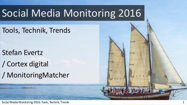 Social Media Monitoring 2016 Tools, Technik, Trends Stefan Evertz / Cortex digital / MonitoringMatcher Social Media Monito...
