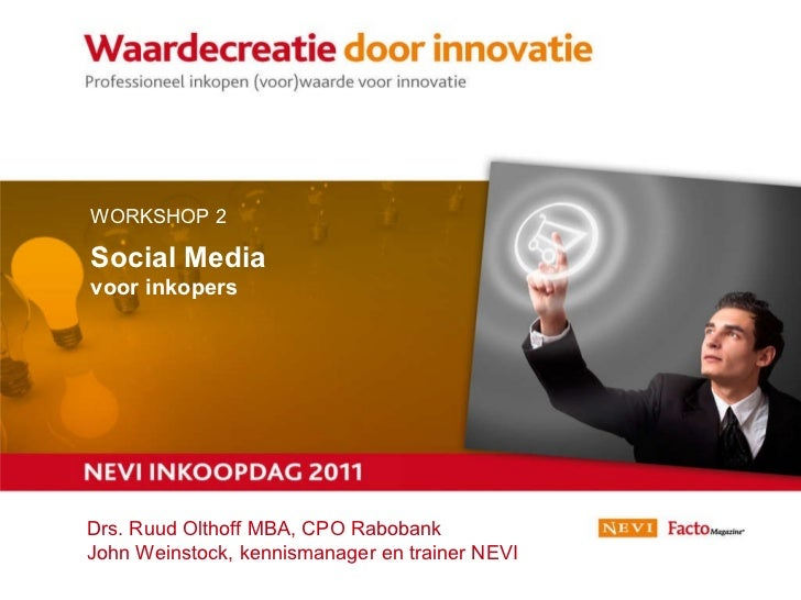 21 juni 2011 Workshop 1 | Het Nieuwe Werken WORKSHOP 2  Social Media voor inkopers Drs. Ruud Olthoff MBA, CPO Rabobank Joh...