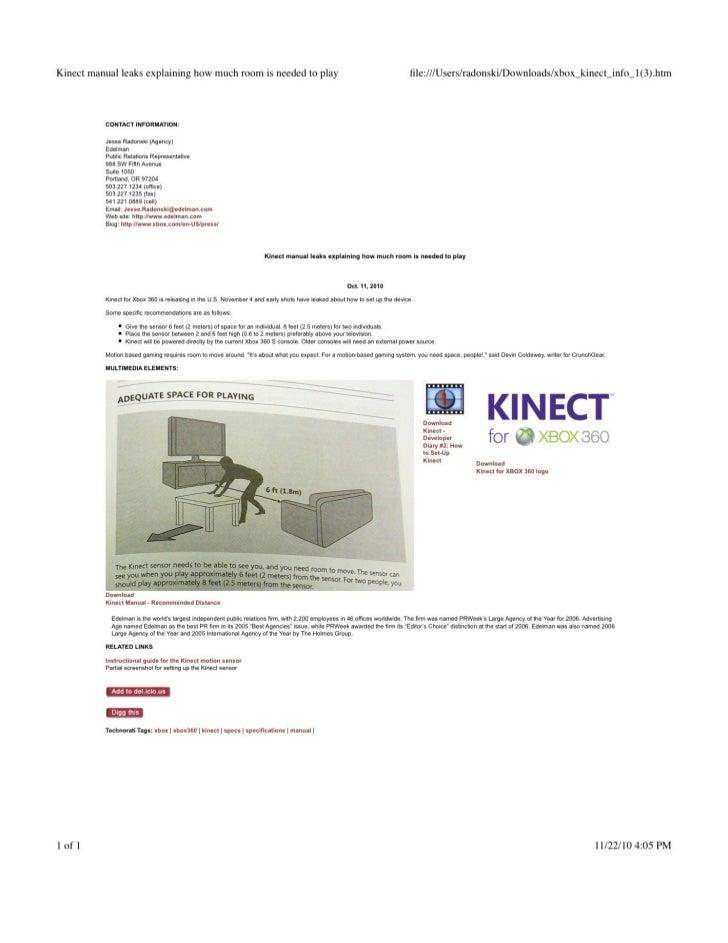 Social media news release kinect