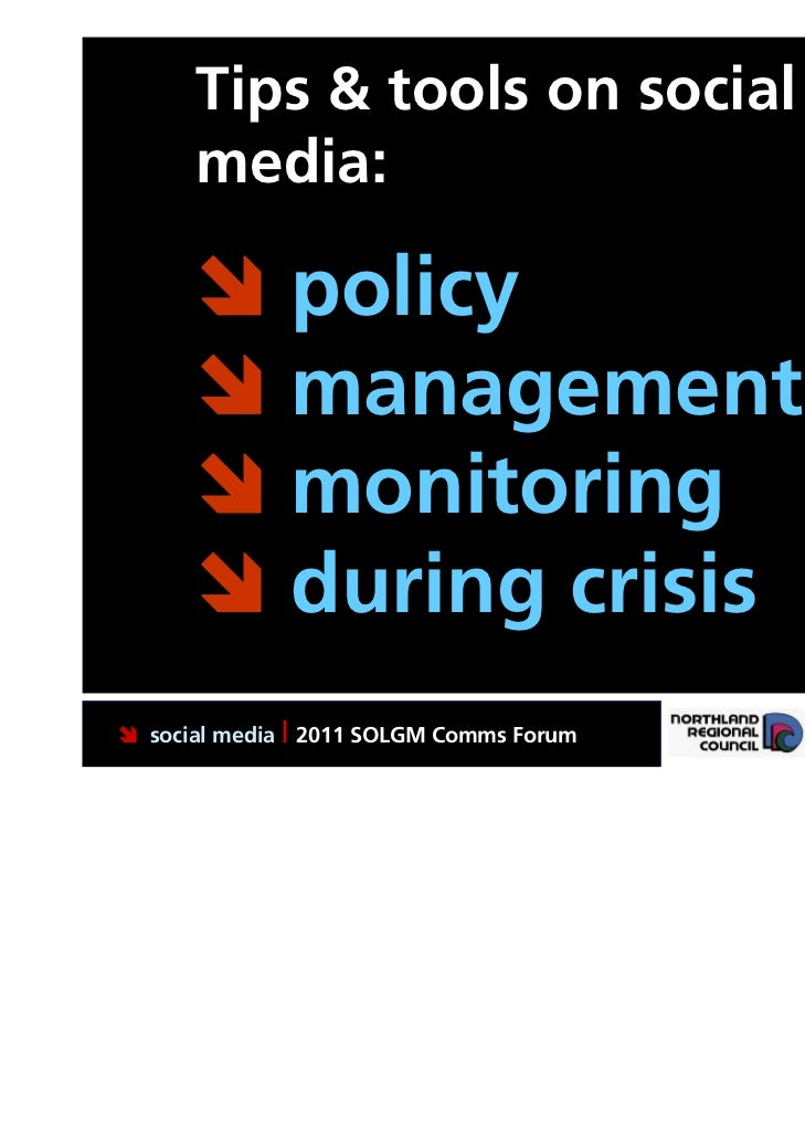 Tips & tools on social      media:       policy       management       monitoring       during crisis social media | ...