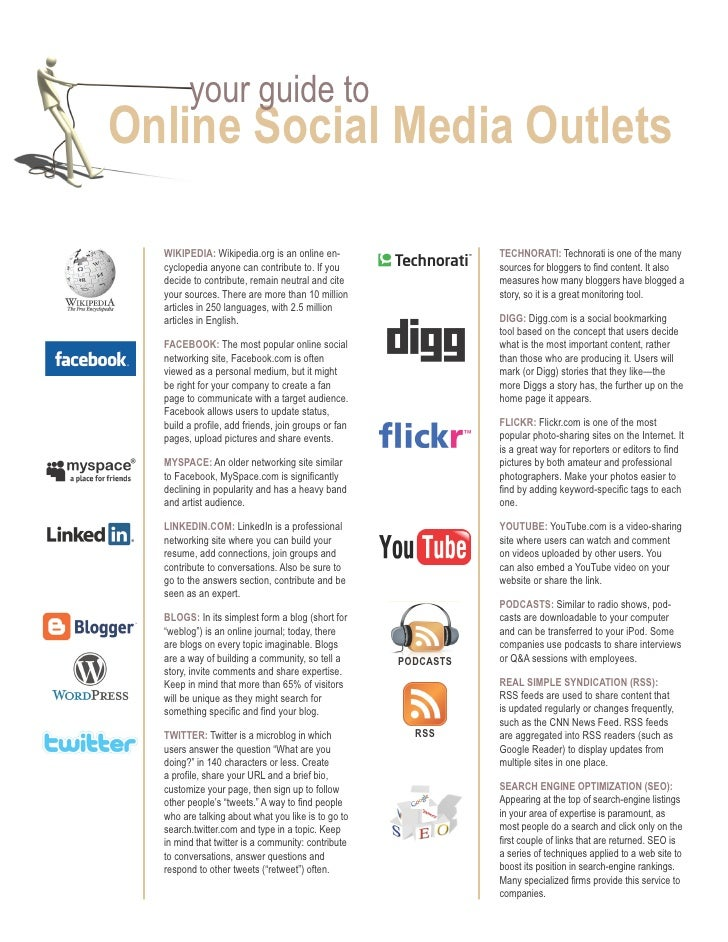 your guide to online Social Media outlets    Wikipedia: Wikipedia.org is an online en-                     TechnoraTi: Tec...