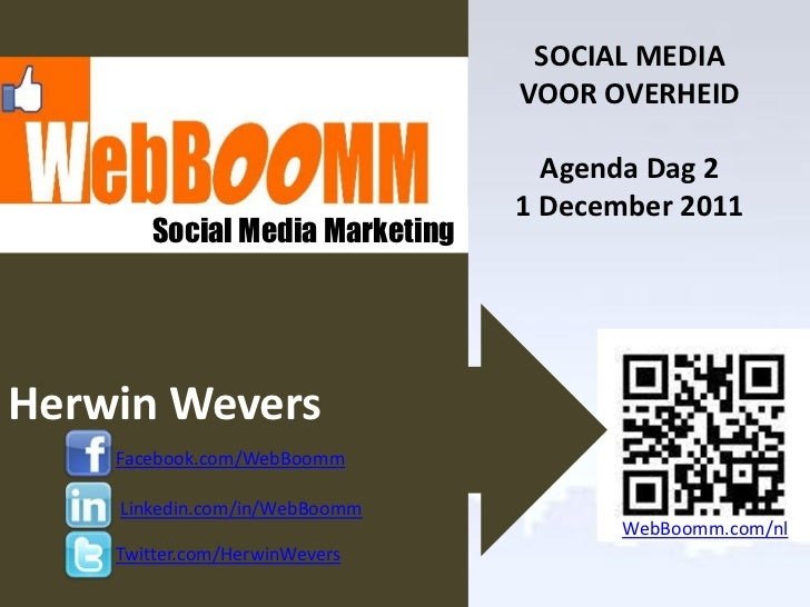 Social Media Training Overheid                                     SOCIAL MEDIA                                    VOOR OV...