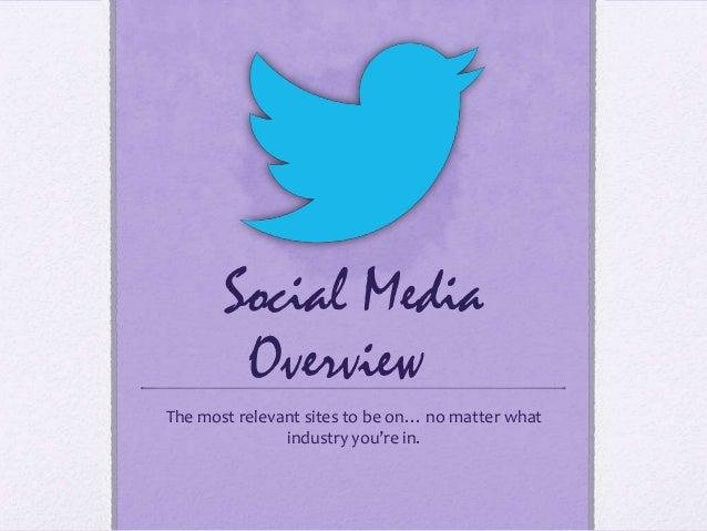 Social Media 101 - Major Channels Overview