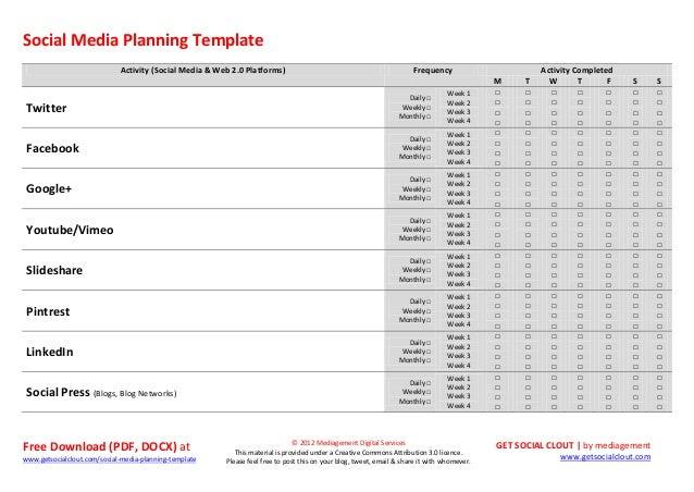 Social media planning template for Social media templates free