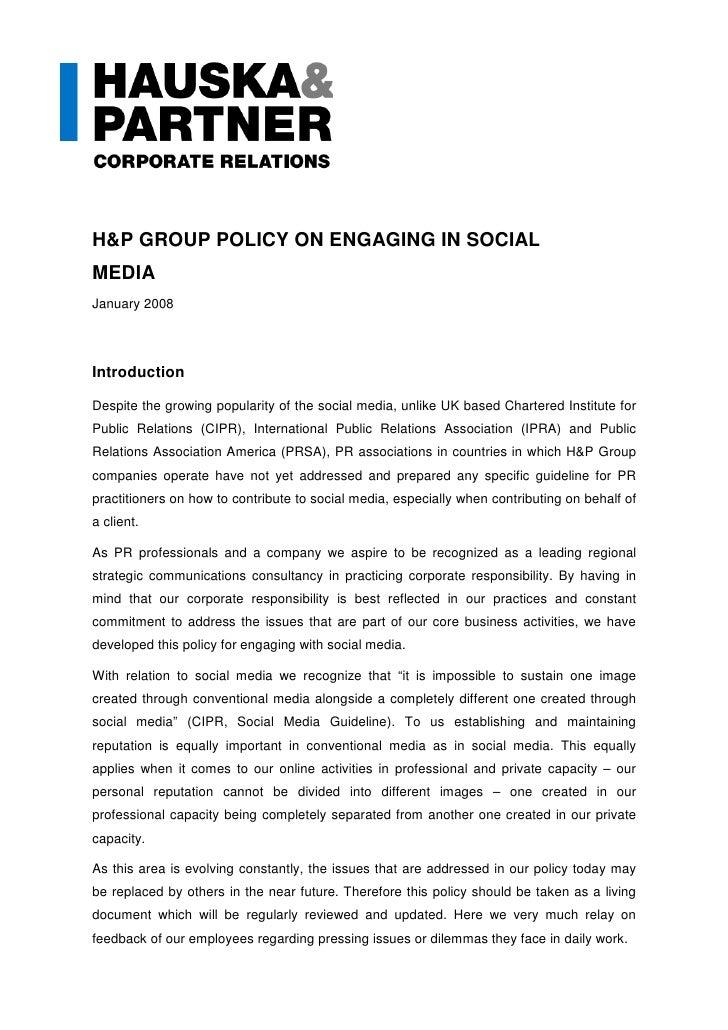 H&P Social Media Policy