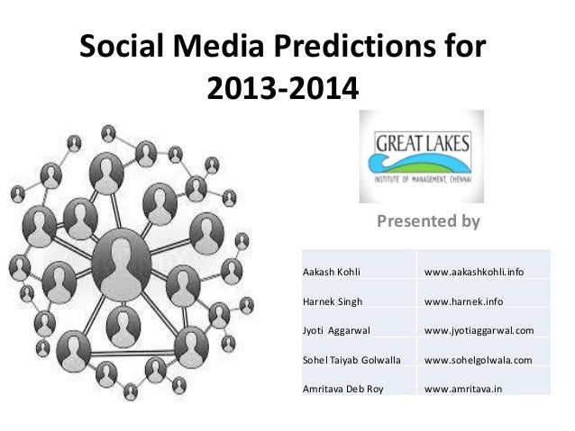 Social Media Predictions for        2013-2014                                Presented by               Aakash Kohli      ...