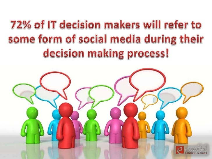 72% of IT decision makers will refer to some form of social media during their decision making process!<br />