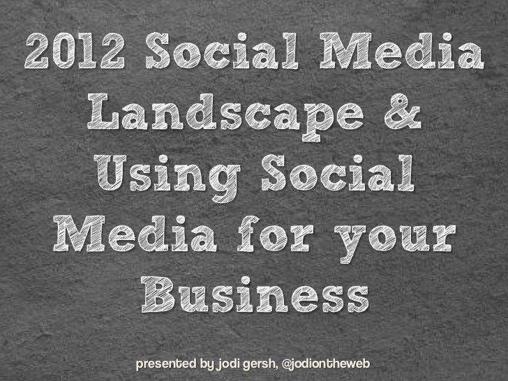 2012 Social Media  Landscape &   Using Social Media for your     Business    presented by jodi gersh, @jodiontheweb