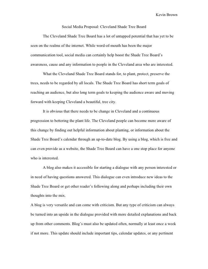 Kevin Brown                        Social Media Proposal: Cleveland Shade Tree Board         The Cleveland Shade Tree Boar...