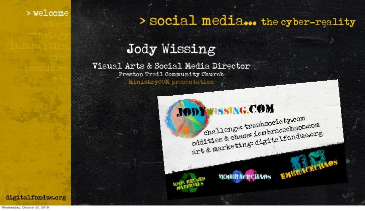> social media... the cyber-reality                                      Jody Wissing                               Visual...