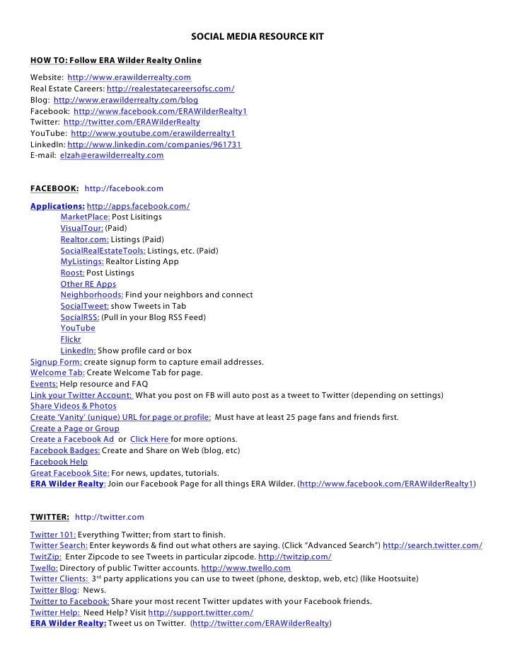 SOCIAL MEDIA RESOURCE KIT  HOW TO: Follow ERA Wilder Realty Online Website: http://www.erawilderrealty.com Real Estate Car...