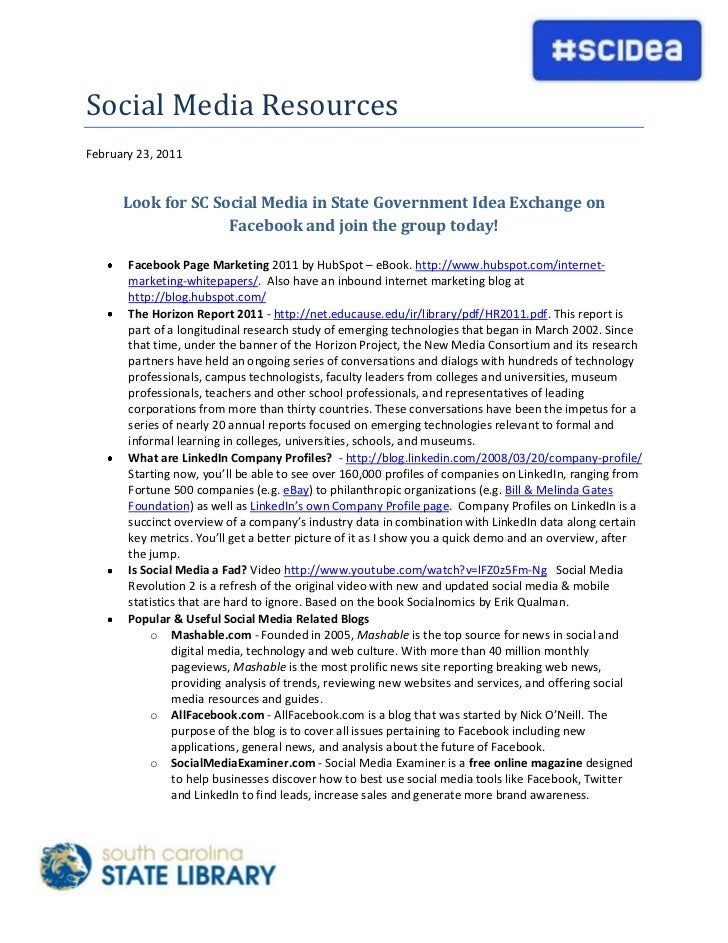 4718050-755650Social Media Resources<br />February 23, 2011<br />Look for SC Social Media in State Government Idea Exchang...
