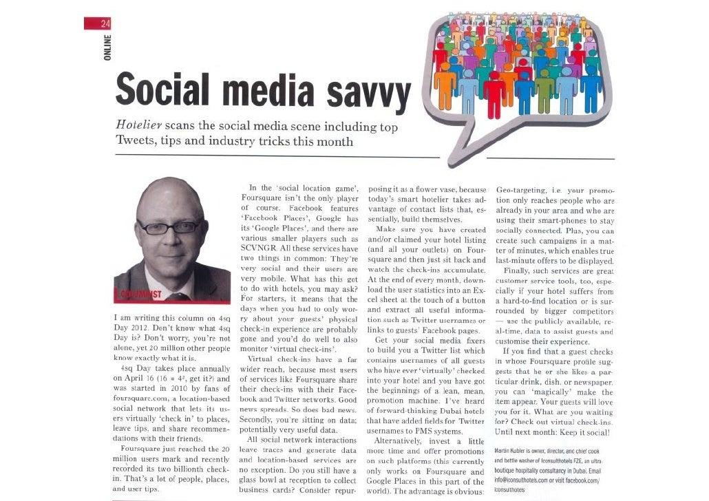 Social Media Savvy - May 2012