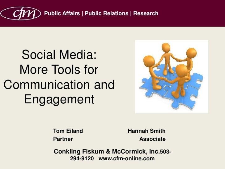 Tom Eiland Hannah Smith Partner Associate Conkling Fiskum & McCormick, Inc. 503-294-9120  www.cfm-online.com Social Media:...