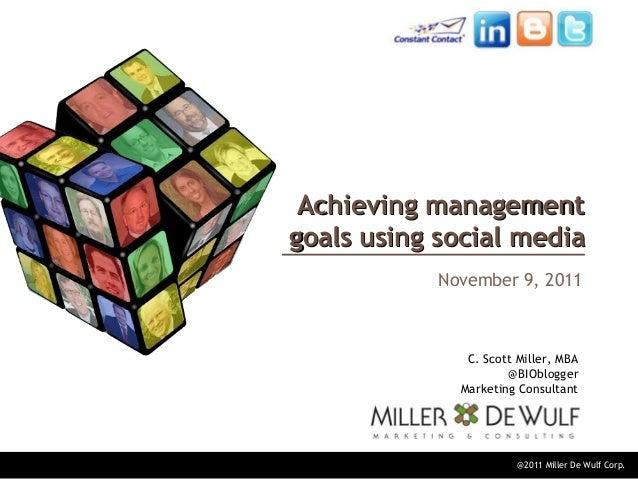 @2011 Miller De Wulf Corp. Achieving managementAchieving management goals using social mediagoals using social media Novem...