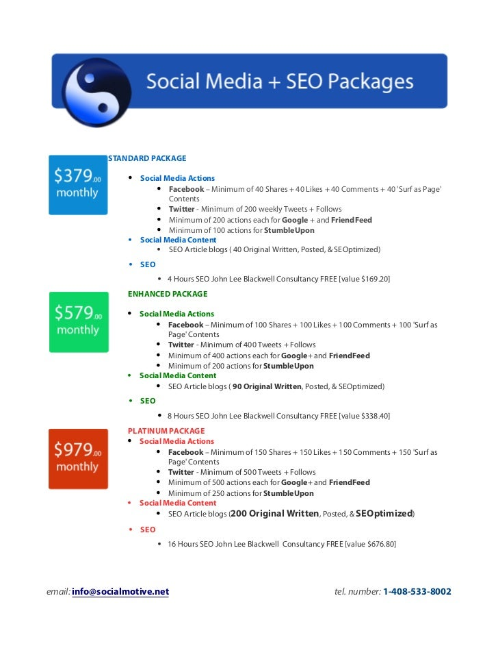 Social media seo packages (social motive)