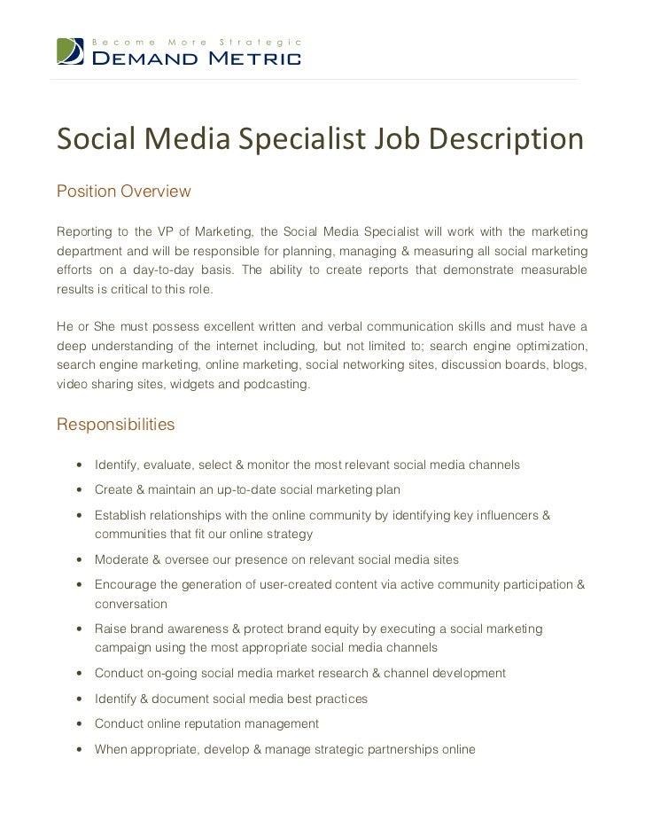 social media specialist description