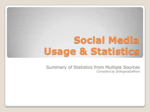 Social MediaUsage & StatisticsSummary of Statistics from Multiple SourcesCompiled by @AngelaDaffron