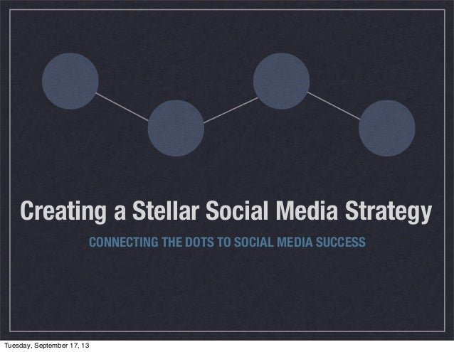 Creating a Stellar Social Media Strategy CONNECTING THE DOTS TO SOCIAL MEDIA SUCCESS Tuesday, September 17, 13