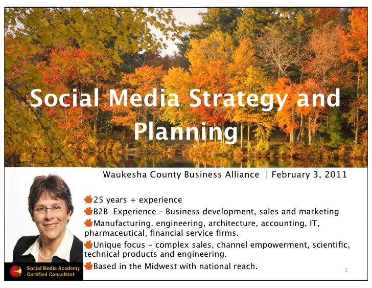 Social Media Strategy and        Planning        Waukesha County Business Alliance | February 3, 2011      25 years + expe...