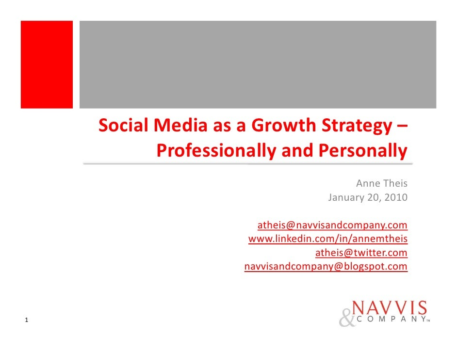 Social Media as a Growth Strategy –            Professionally and Personally                                          Anne...