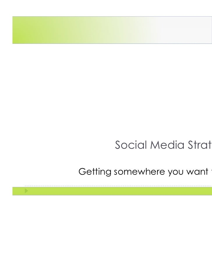Social Media StrategyGetting somewhere you want to go