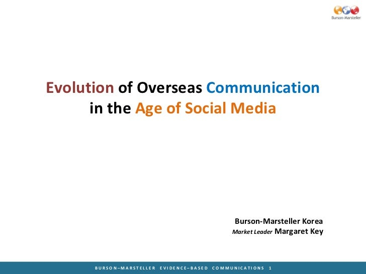 Evolution  of Overseas  Communication in the  Age of Social Media Burson-Marsteller Korea Market Leader  Margaret Key