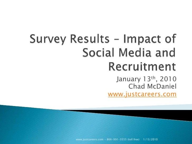 Social Media Survey Results  Impactof Social Media And Recruitment