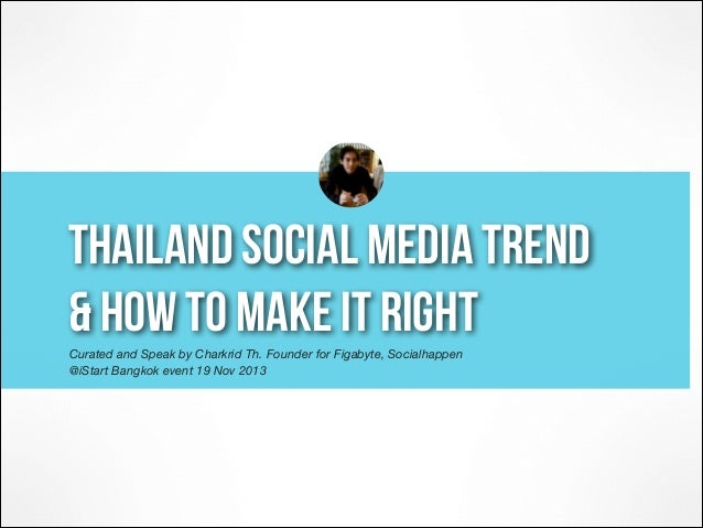 thailand social media trend  & how to make it right Curated and Speak by Charkrid Th. Founder for Figabyte, Socialhappen...