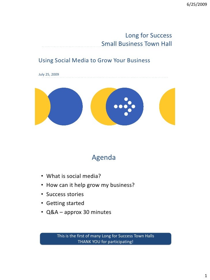 6/25/2009 1 Using Social Media to Grow Your Business July 25, 2009 Long for Success Small Business Town Hall Agenda • What...
