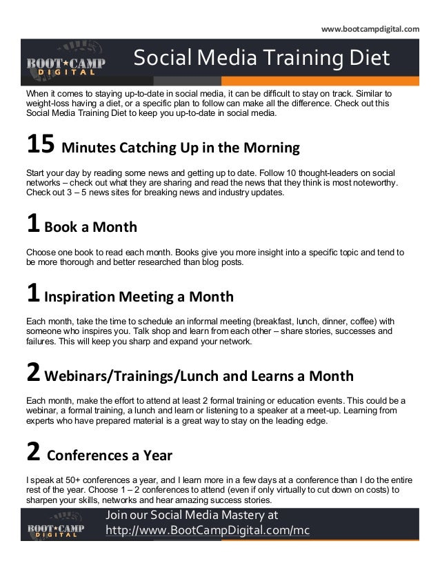 www.bootcampdigital.com           Social  Media  Training  Diet    When it comes to staying up-to-date in ...