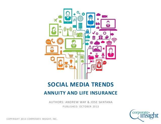 COPYRIGHT 2013 CORPORATE INSIGHT, INC. SOCIAL MEDIA TRENDS ANNUITY AND LIFE INSURANCE AUTHORS: ANDREW WAY & JOSE SANTANA P...