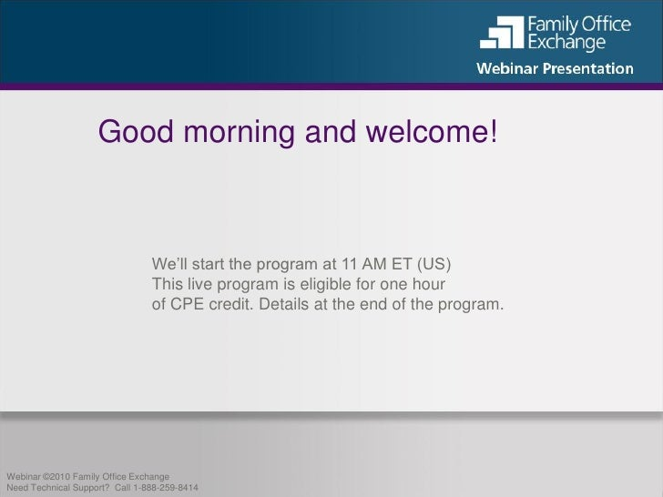 Good morning and welcome!                                    We'll start the program at 11 AM ET (US)                     ...