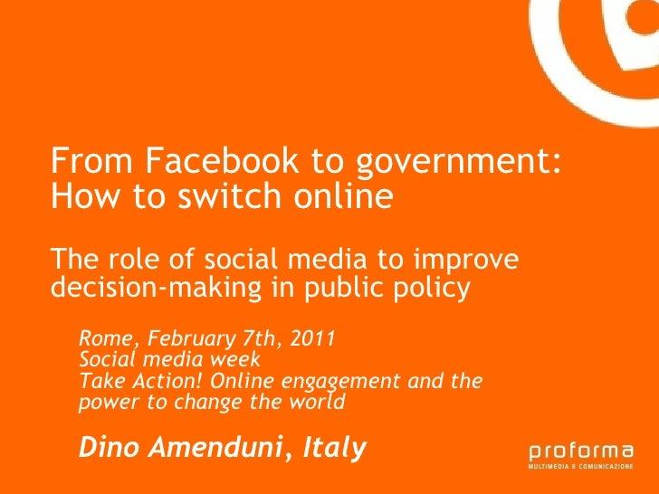 Strategia di comunicazione Gianni Florido e la Provincia di Taranto From Facebook to government: How to switch online The ...