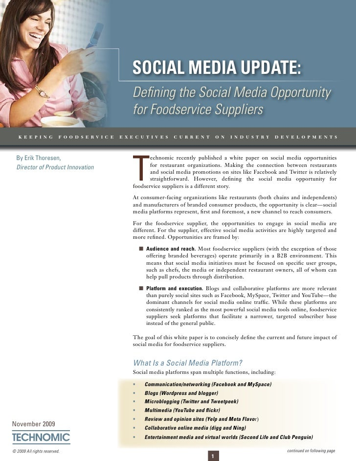 Social Media update: Defining the Social Media Opportunity for Foodservice Suppliers                                      ...