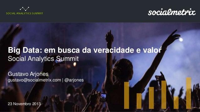 Big Data: em busca da veracidade e valor - Social Analytics Summit 2013 - SP