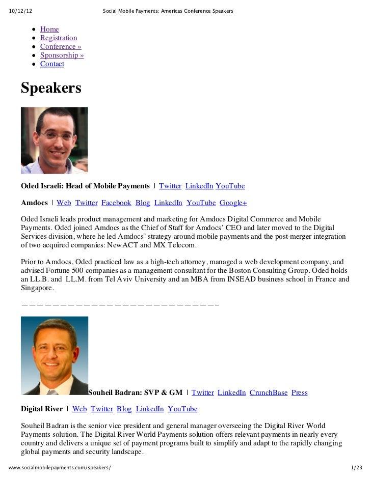 Social Mobile Payments Conference Speaker Roster