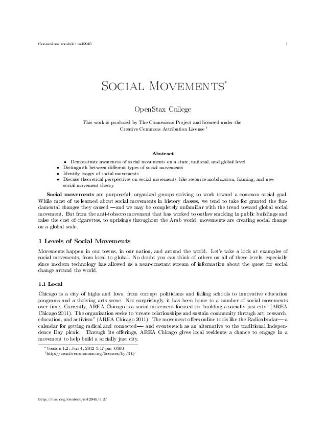 Connexions module: m42945 1Social Movements∗OpenStax CollegeThis work is produced by The Connexions Project and licensed u...