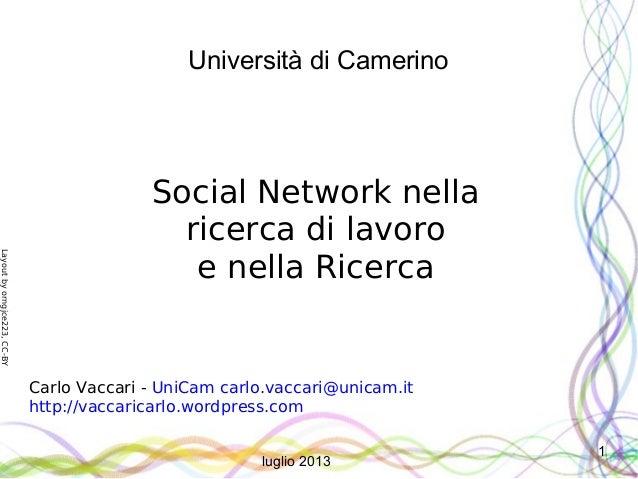 Layoutbyorngjce223,CC-BY 1 Università di Camerino Social Network nella ricerca di lavoro e nella Ricerca Carlo Vaccari - U...