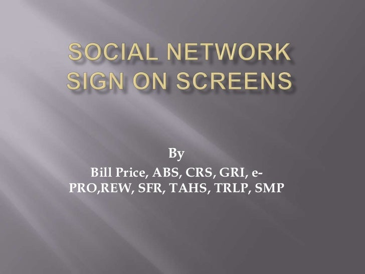 Social network   sign on screens