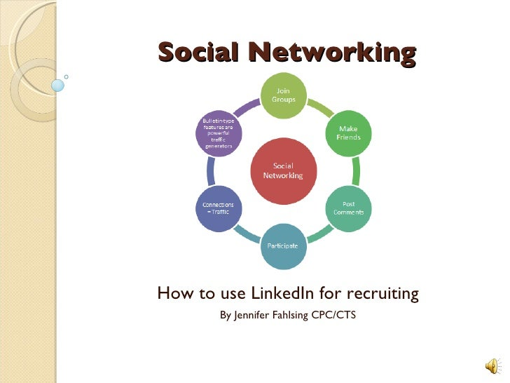 Social Networking How to use LinkedIn for recruiting By Jennifer Fahlsing CPC/CTS
