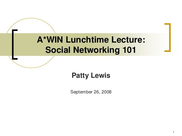 A*WIN Lunchtime Lecture:  Social Networking 101       Patty Lewis       September 26, 2008                            1
