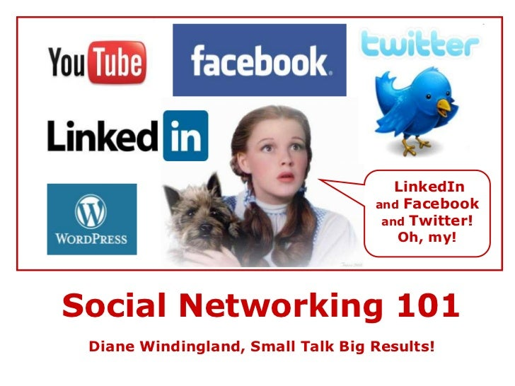 LinkedIn <br />and Facebook and Twitter!<br />Oh, my!<br />Social Networking 101<br />Diane Windingland, Small Talk Big Re...