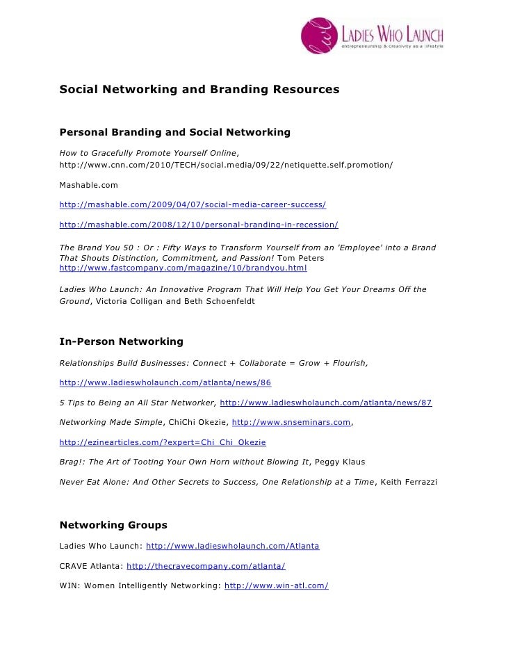 Social networking and branding resources