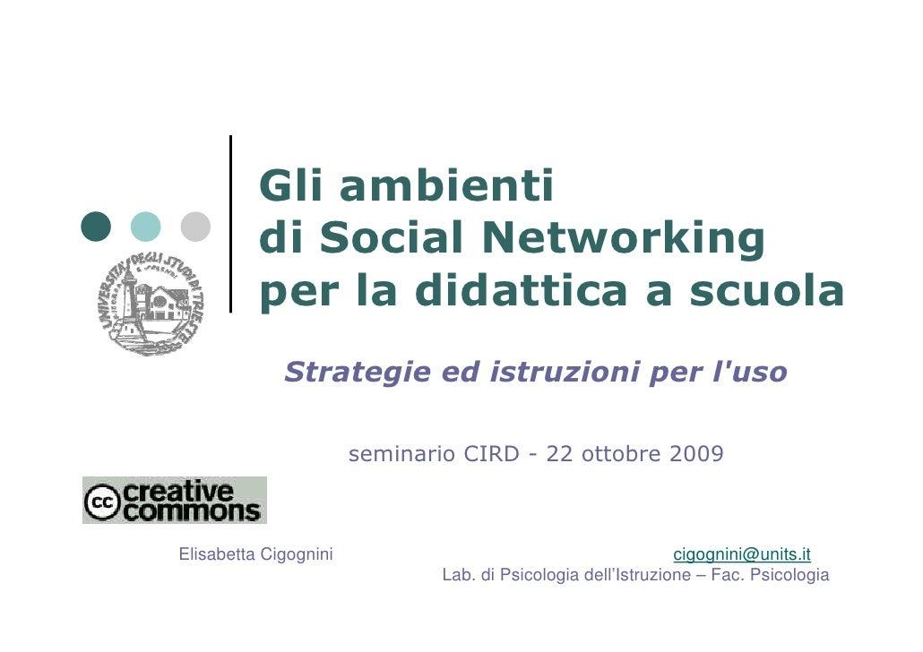 Gli ambienti           di Social Networking           per la didattica a scuola              Strategie ed istruzioni per l...