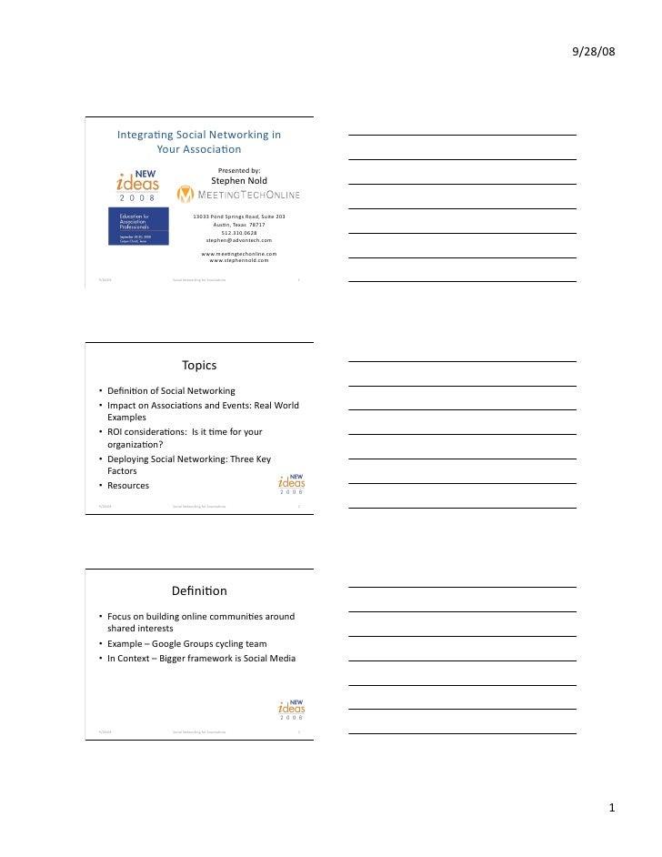Social Networking For Associations Handout Final