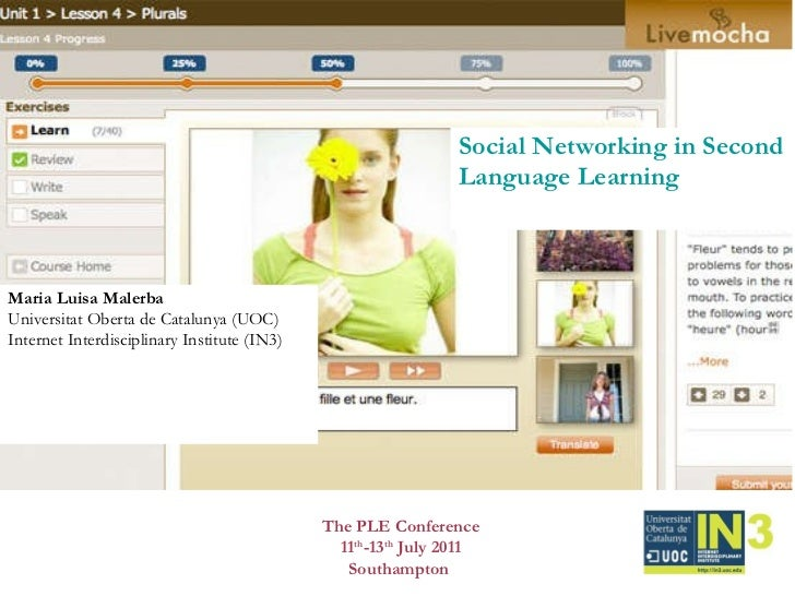 Social Networking in Second Language Learning Maria Luisa Malerba  Universitat Oberta de Catalunya (UOC) Internet Interdis...