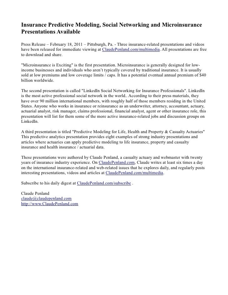 Social networking microinsurance press release